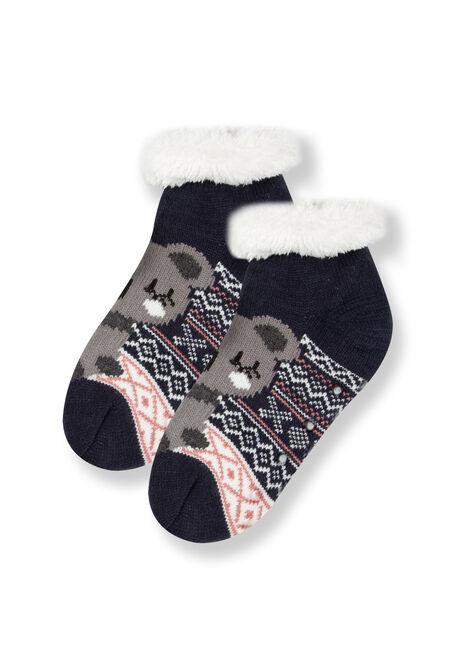 Women's Koala Slipper Socks, NAVY, hi-res