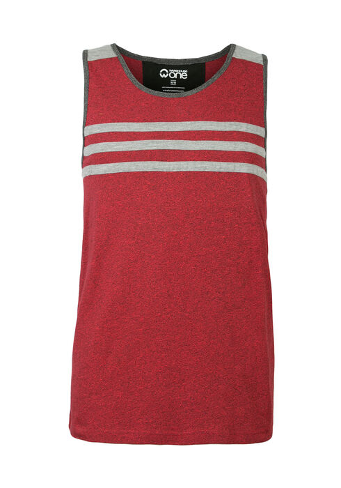 Men's Striped Tank, RED, hi-res