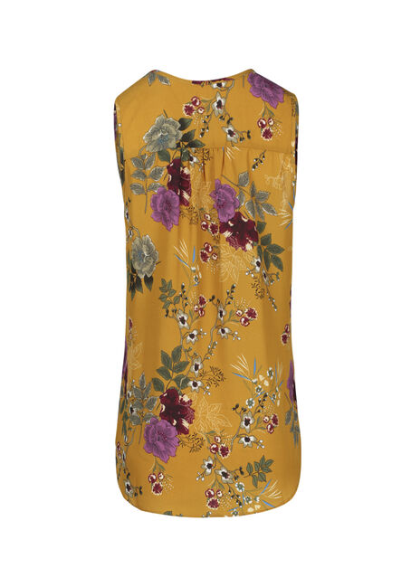 Ladies' Floral Pleat Front Tank, MUSTARD, hi-res