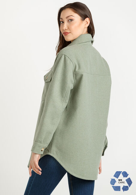Women's Button Front Shacket, SAGE GREEN, hi-res