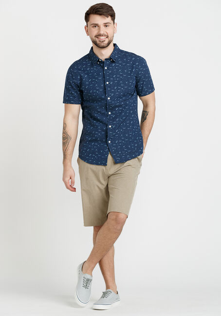 Men's Beach Print Shirt, NAVY, hi-res