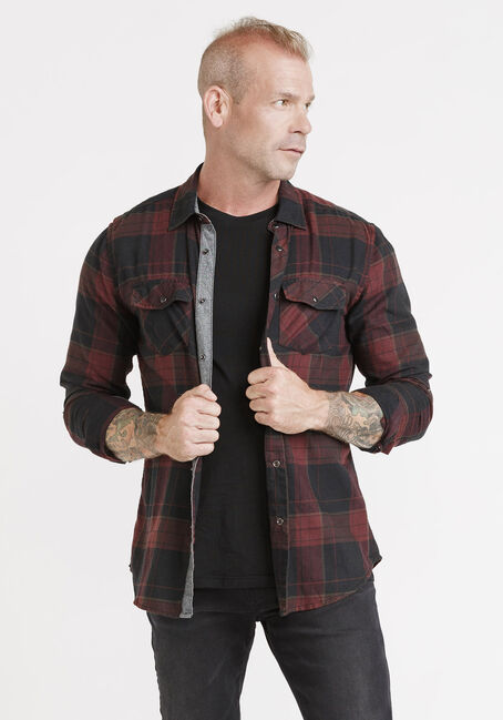 Men's Roll Sleeve Plaid Shirt, VINEYARD, hi-res