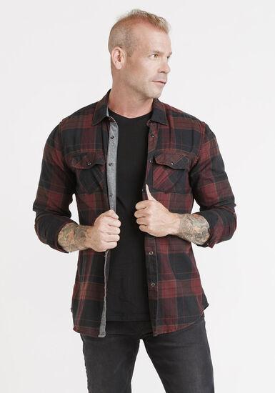 Men's Roll Sleeve Plaid Shirt, VINEYARD, hi-res