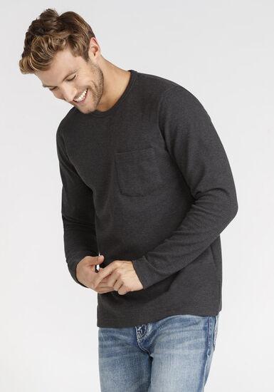 Men's Pocket Rib Knit Tee, CHARCOAL, hi-res