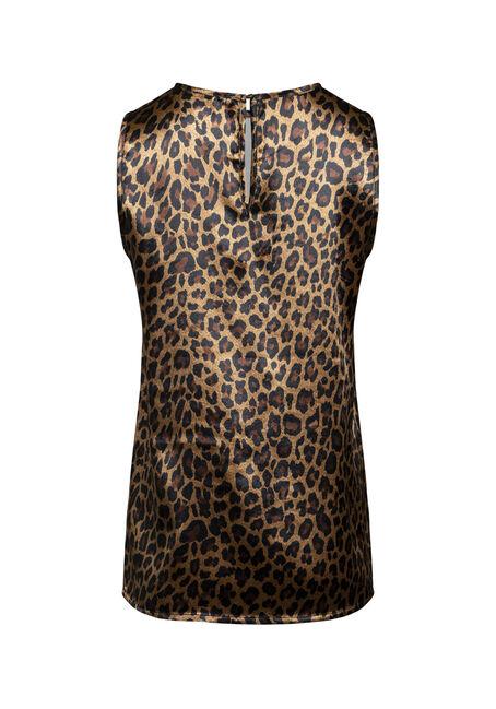Women's Leopard Print Shimmer Tank, BLACK, hi-res