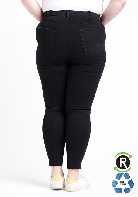 Women's Plus Size High Rise Black Destroyed Ankle Skinny Jeans, BLACK, hi-res