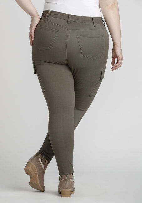 Women's Plus Size Skinny Cargo Pant, DARK OLIVE, hi-res