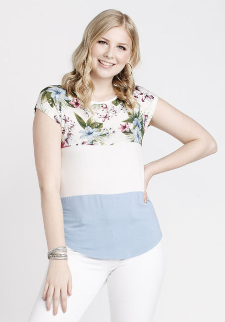 Women's Floral Colour Block Top, IVORY, hi-res
