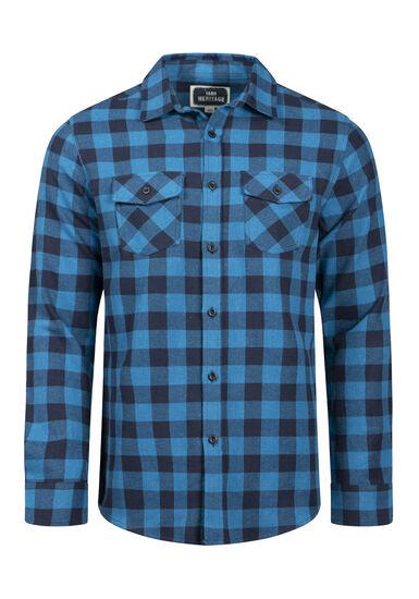 Men's Plaid Flannel Shirt, BLUEGRASS, hi-res
