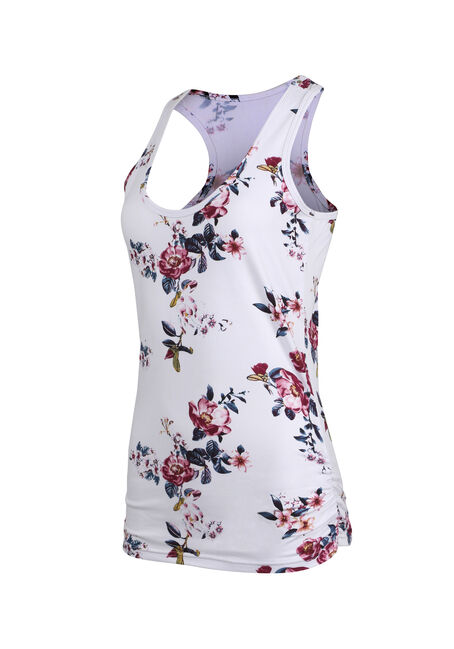 Ladies' Floral Super Soft Tank, WHITE, hi-res