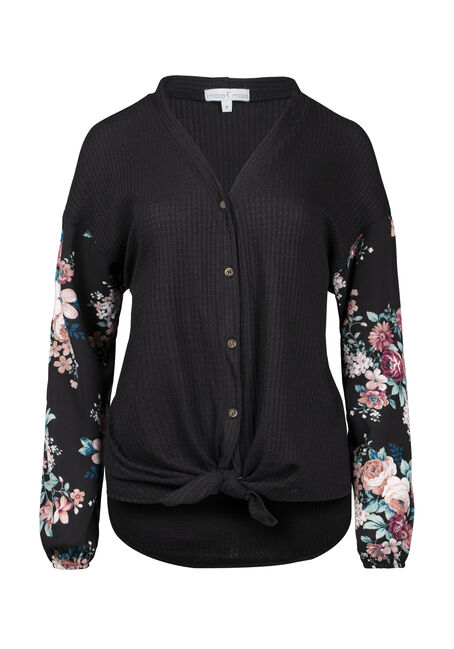 Women's Floral Tie Front Waffle Top