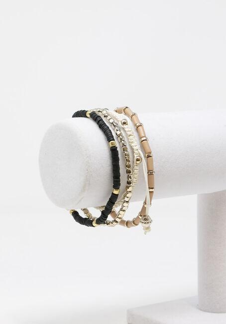 Women's 5 Pair Bracelet Set, BLACK, hi-res