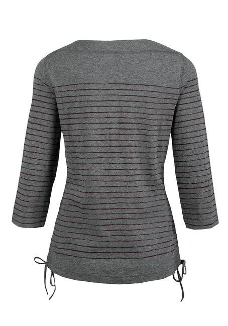 Ladies' Stripe Top, CHARCOAL, hi-res