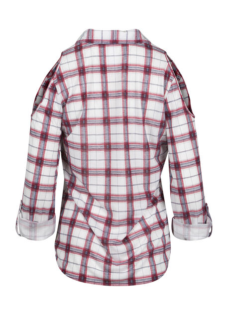 Ladies' Cold Shoulder Knit Plaid Shirt, RASPBERRY, hi-res