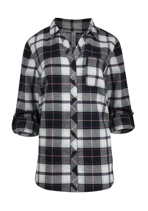 Women's Flannel Boyfriend Shirt, NAVY, hi-res
