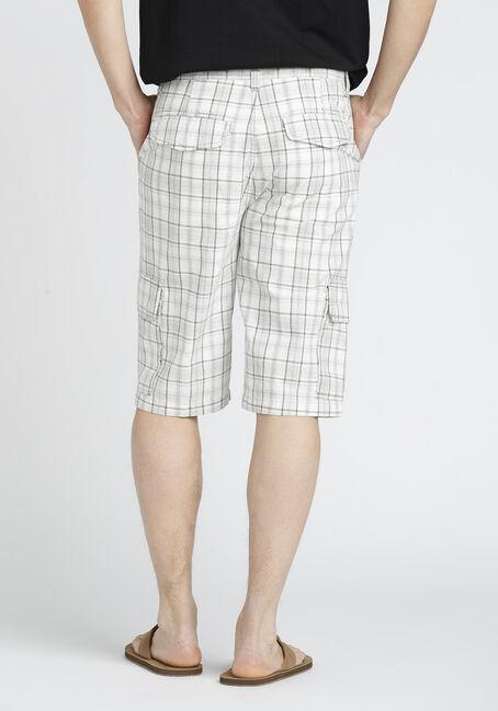 Men's Plaid Cargo Short, WHITE, hi-res