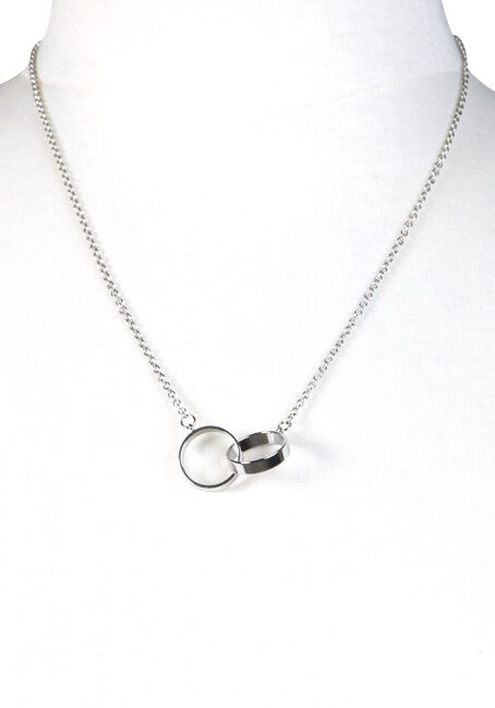 Women's Linked O's Necklace, RHODIUM, hi-res