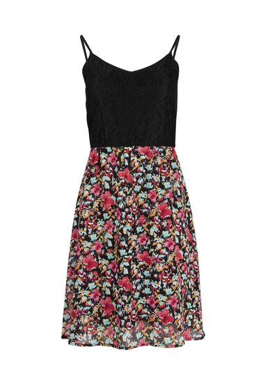 Women's Floral & Lace Strappy Dress, BLACK, hi-res