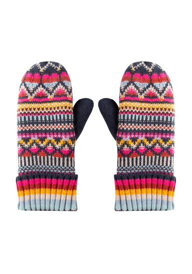 Women's Multi Colour Mittens, MULTI, hi-res
