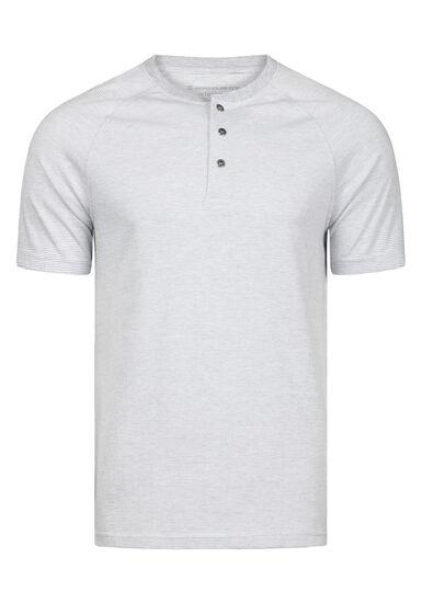 Men's Everyday Mini Stripe Henley Tee, WHITE, hi-res