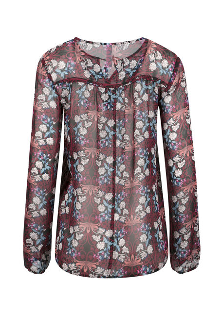 Ladies' Floral Peasant Top, WINE, hi-res