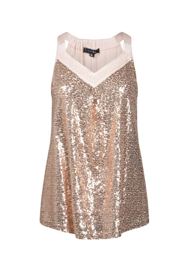 Women's Sequin Shimmer Tank, PEACH, hi-res