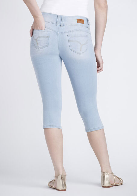 Women's Bleach Wash Capri, LIGHT WASH, hi-res