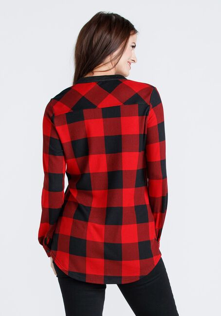 Women's Lace Up Plaid Tunic Shirt, RED, hi-res