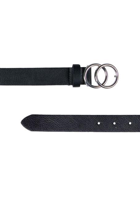 Women's Double Ring Buckle Belt, BLACK, hi-res