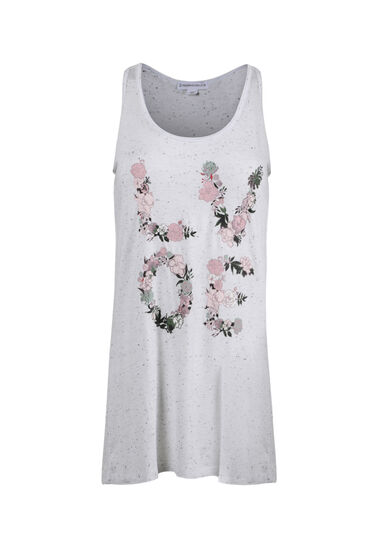 Women's Floral Love Tank, WHITE, hi-res