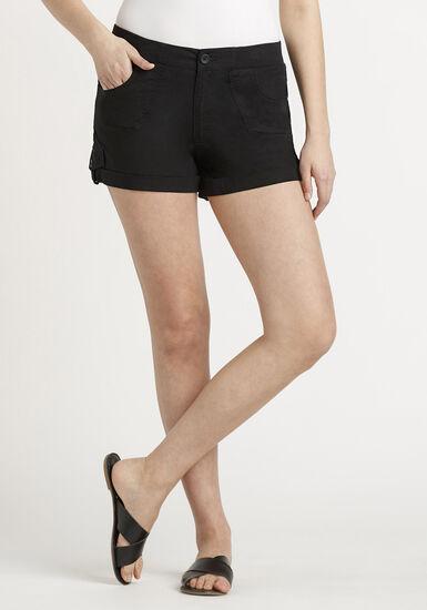Women's Poplin Cuffed Short, BLACK, hi-res