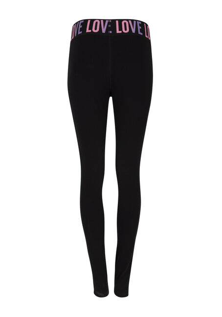 Ladies' Love Elastic Waistband Legging, BLACK, hi-res