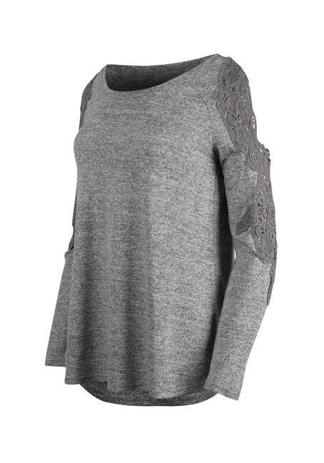 Ladies' Floral Crochet Cold Shoulder Top, GREY MIX, hi-res