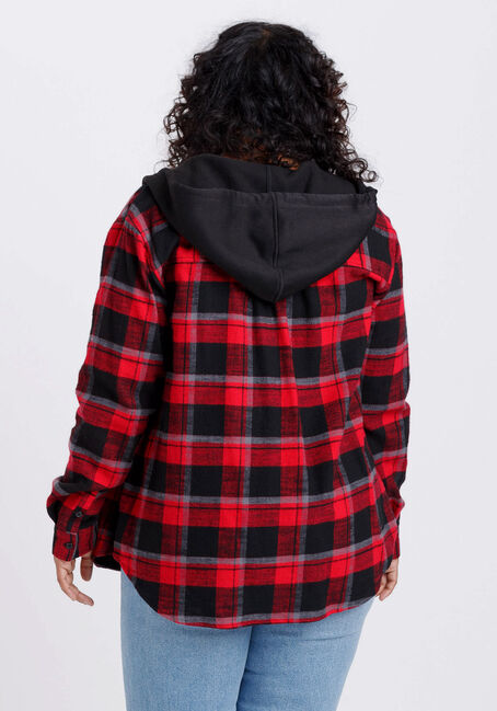 Women's Flannel Hooded Plaid Shirt, RED/BLACK, hi-res