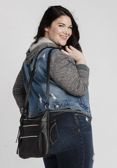 Women's Knit Sleeve Vintage Jean Jacket, LIGHT WASH, hi-res