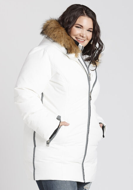 Ladies' Plus Size Quilted Parka, WHITE, hi-res