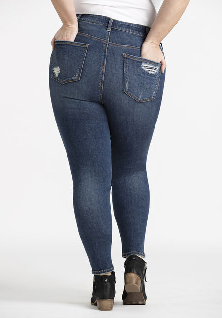 Women's Plus Rip & Repair High Rise Skinny Jeans, DARK WASH, hi-res