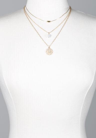 Women's Gold Floral Pendant Necklace, GOLD, hi-res