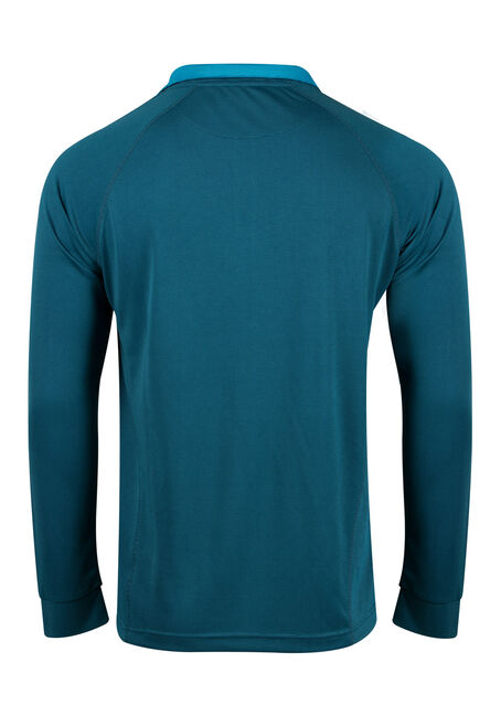 Men's Athletic Mock Neck Top, BLUE, hi-res