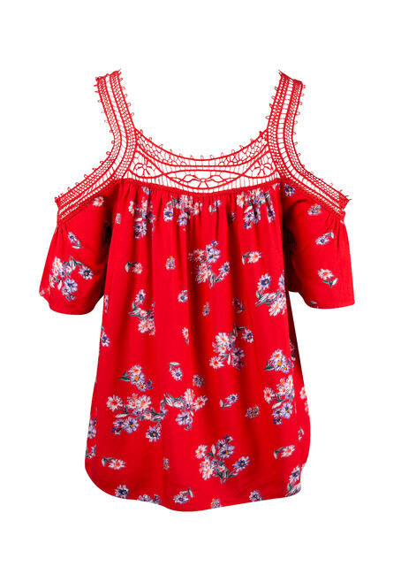 Women's Floral Cold Shoulder Top, RED, hi-res