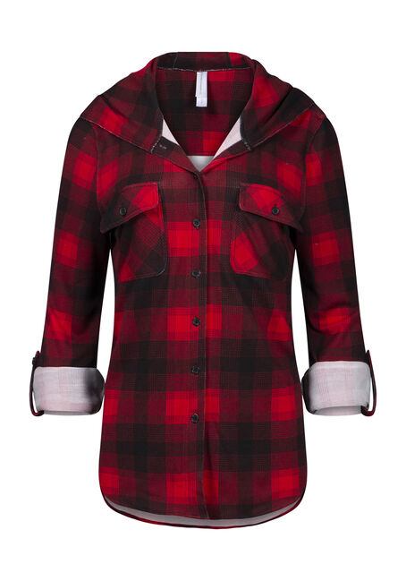 Women's Hooded Knit Plaid Shirt