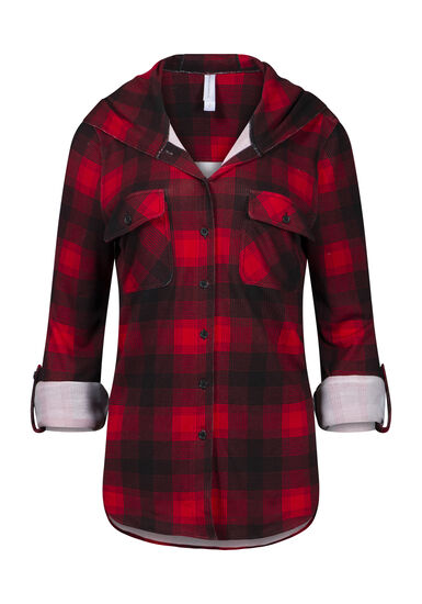 Women's Hooded Knit Plaid Shirt, RED, hi-res