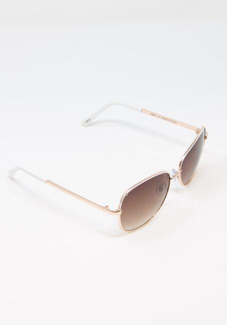 Women's Aviator Sunglasses, WHITE, hi-res
