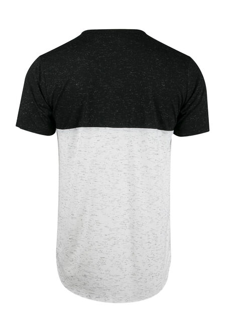 Men's Colour Block Tee, BLK/WHT, hi-res