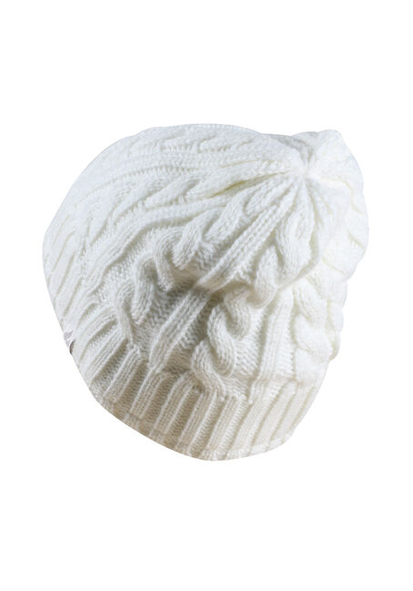 Ladies' Thermal Cable Knit Hat, WINTER WHITE, hi-res