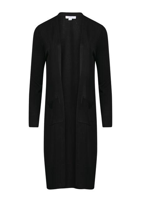 Women's Mid-Length Cardigan, BLACK, hi-res