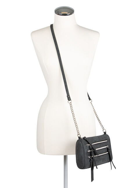 Ladies' Triple Zipper Cross Body Bag, CHARCOAL, hi-res
