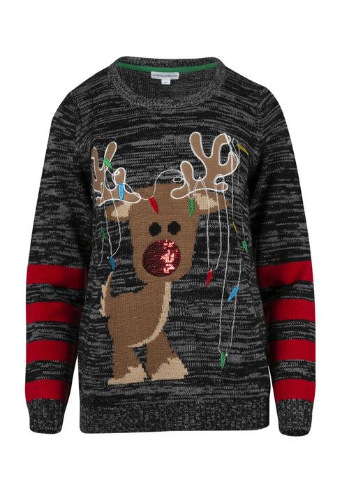 Ladies' Light Up Reindeer Sweater, GREY MARL/RED, hi-res