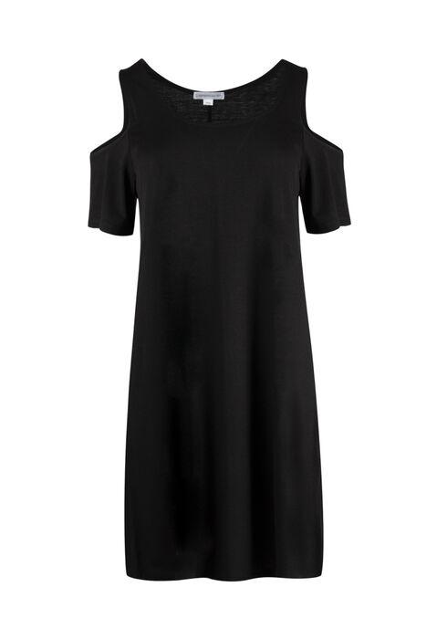 Ladies' Cold Shoulder Dress, BLACK, hi-res