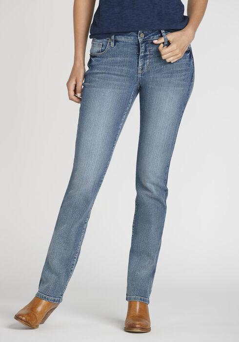 Women's Curvy Straight Leg Jeans, MEDIUM WASH, hi-res